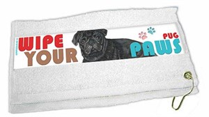 Pug Paw Wipe Towel Black