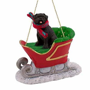 Pug Sleigh Ride Christmas Ornament Black