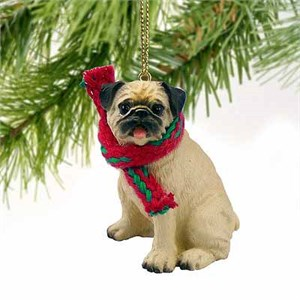 Pug Tiny One Christmas Ornament Fawn