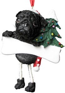 Pug Christmas Tree Ornament - Personalize (Black)