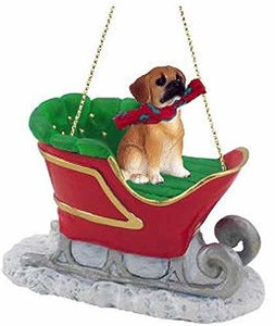 Puggle Sleigh Ride Christmas Ornament Brown