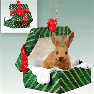 Rabbit Gift Box Christmas Ornament Brown