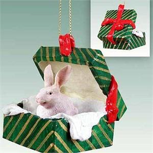 Rabbit Gift Box Christmas Ornament White
