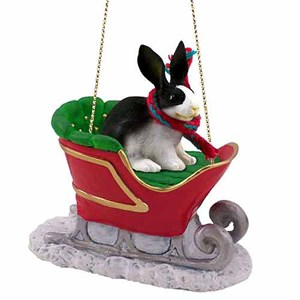 Rabbit Sleigh Ride Christmas Ornament Black-White