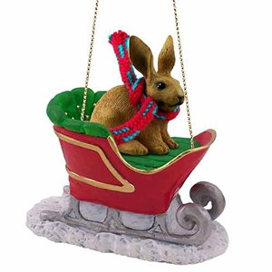 Rabbit Sleigh Ride Christmas Ornament Brown
