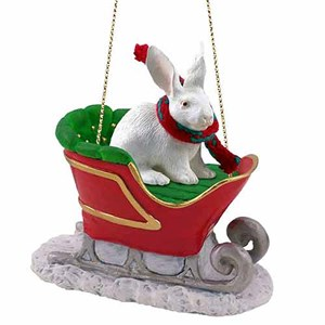 Rabbit Sleigh Ride Christmas Ornament White