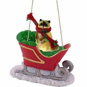 Ragdoll Cat Sleigh Ride Christmas Ornament