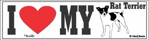 Rat Terrier Bumper Sticker I Love My