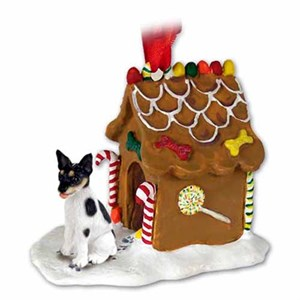 Rat Terrier Gingerbread House Christmas Ornament