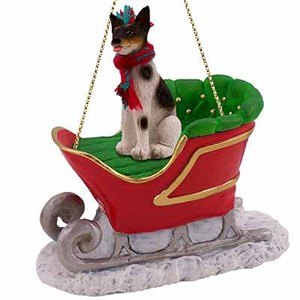 Rat Terrier Sleigh Ride Christmas Ornament