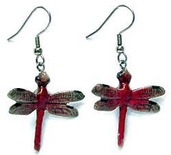 Red Dragonfly Earrings True to Life