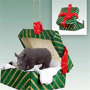 Rhinoceros Gift Box Christmas Ornament