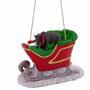 Rhinoceros Sleigh Ride Christmas Ornament