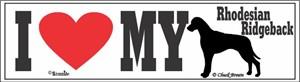 Rhodesian Ridgeback Bumper Sticker I Love My