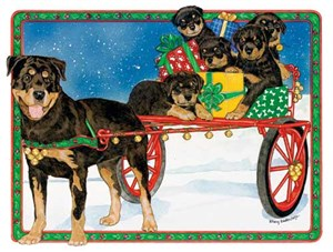 Rottweiler Christmas Cards Holiday Ride