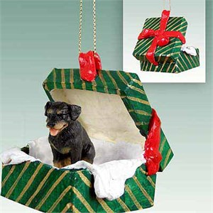 Rottweiler Gift Box Christmas Ornament