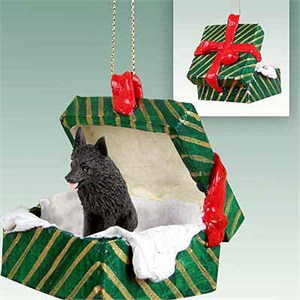 Schipperke Gift Box Christmas Ornament
