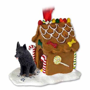 Schipperke Gingerbread House Christmas Ornament