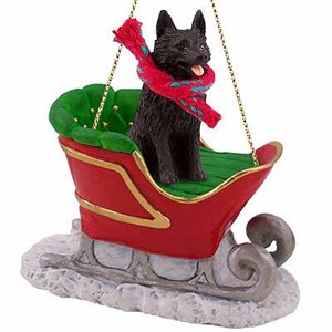 Schipperke Sleigh Ride Christmas Ornament