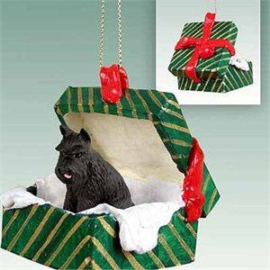 Schnauzer Gift Box Christmas Ornament Black