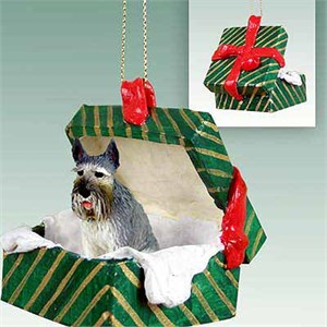 Schnauzer Gift Box Christmas Ornament Giant Gray