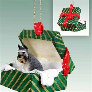 Schnauzer Gift Box Christmas Ornament Gray