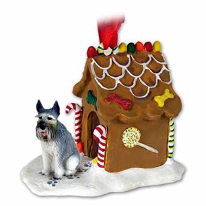 Schnauzer Gingerbread House Christmas Ornament Giant Gray