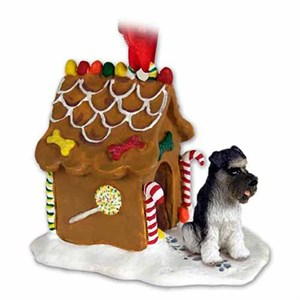 Schnauzer Gingerbread House Christmas Ornament Gray Uncropped