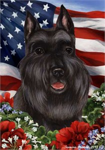 Schnauzer House Flag Black Cropped