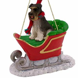 Schnauzer Sleigh Ride Christmas Ornament Gray Uncropped