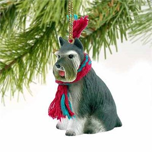Schnauzer Tiny One Christmas Ornament Gray