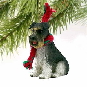 Schnauzer Tiny One Christmas Ornament Gray Uncropped