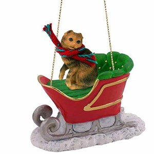 Scottish Fold Cat Sleigh Ride Christmas Ornament