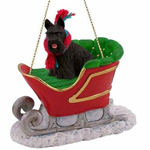 Scottish Terrier Sleigh Ride Christmas Ornament