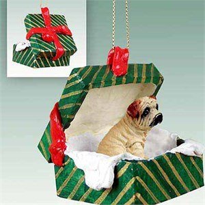 Shar Pei Gift Box Christmas Ornament Cream