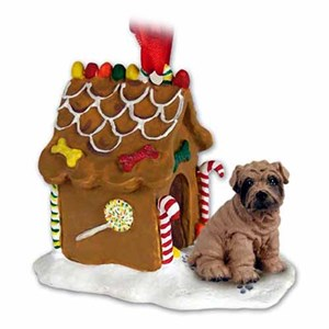 Shar Pei Gingerbread House Christmas Ornament Brown