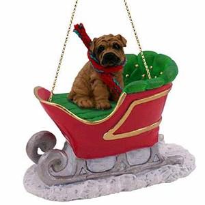 Shar Pei Sleigh Ride Christmas Ornament Brown