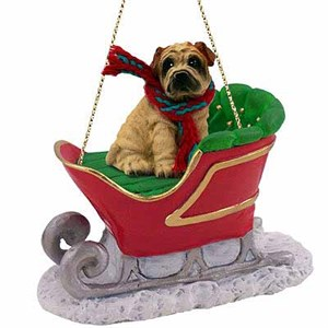 Shar Pei Sleigh Ride Christmas Ornament Cream