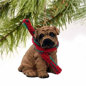 Shar Pei Tiny One Christmas Ornament Brown