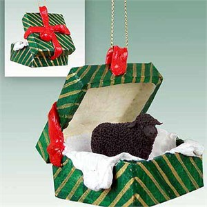 Sheep Gift Box Christmas Ornament Black