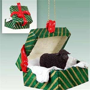 Sheep Gift Box Christmas Ornament Black