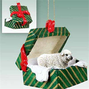Sheep Gift Box Christmas Ornament White