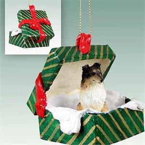 Shetland Sheepdog Gift Box Christmas Ornament Tricolor