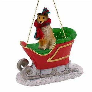 Shetland Sheepdog Sleigh Ride Christmas Ornament Sable