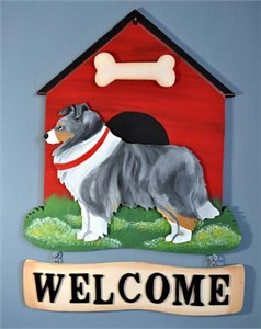 Shetland Sheepdog Welcome Sign Blue Merle