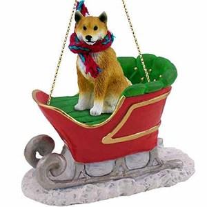 Shiba Inu Sleigh Ride Christmas Ornament