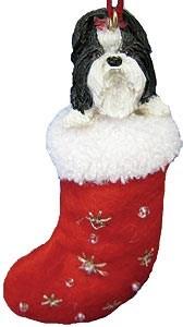 Shih Tzu (Black) Christmas Stocking Ornament