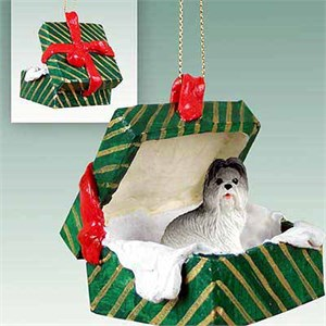 Shih Tzu Gift Box Christmas Ornament Gray