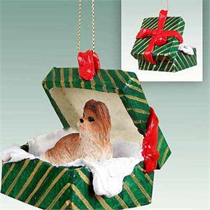 Shih Tzu Gift Box Christmas Ornament Tan