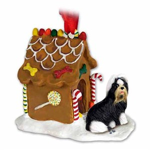 Shih Tzu Gingerbread House Christmas Ornament Black-White